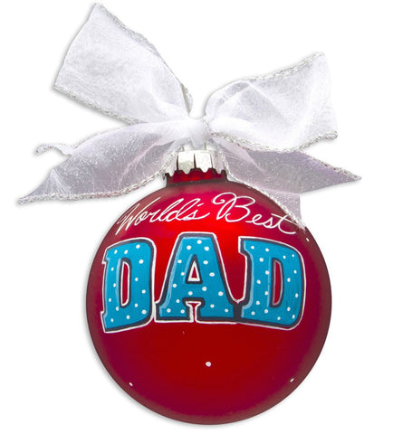VINTAGE HANDPAINTED GLASS BALL CHRISTMAS ORNAMENT-FAMILY #1 DAD