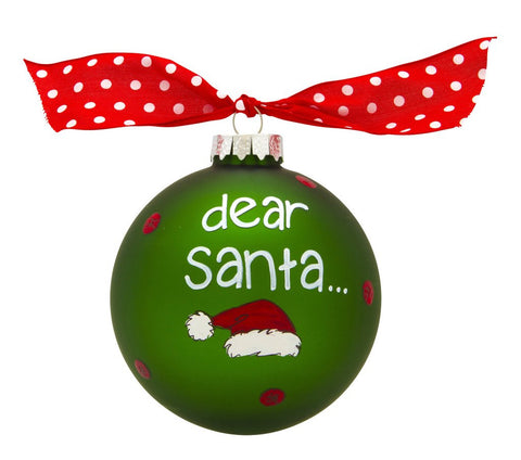 VINTAGE HANDPAINTED GLASS BALL CHRISTMAS ORNAMENT-DEAR SANTA I CAN EXPLAIN