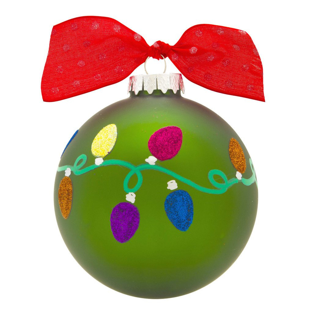MERRY & BRIGHT COLORED LIGHTS VINTAGE HANDPAINTED GLASS BALL