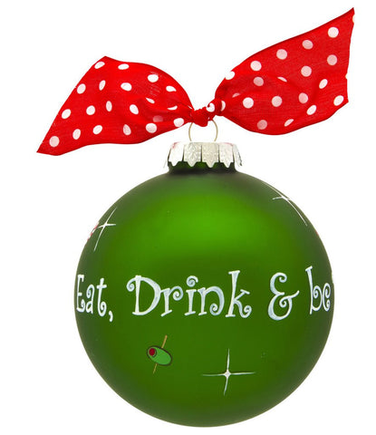VINTAGE HANDPAINTED GLASS BALL CHRISTMAS ORNAMENT-EAT, DRINK & BE MERRY