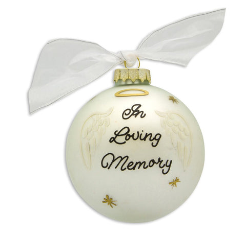 VINTAGE HANDPAINTED GLASS BALL CHRISTMAS ORNAMENT-MEMORIAL-ANGEL WINGS
