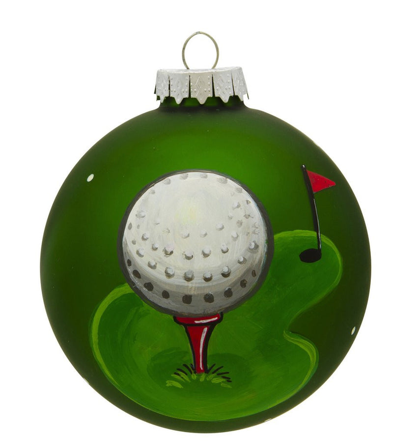 GOLF VINTAGE HANDPAINTED GLASS BALL