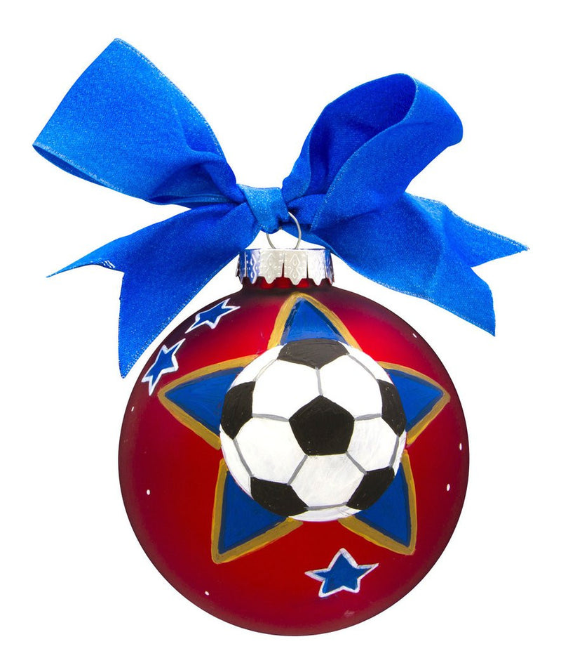 SOCCER VINTAGE HANDPAINTED GLASS BALL