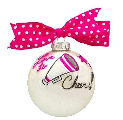 CHEERLEADER LOVE TO CHEER VINTAGE HANDPAINTED GLASS BALL