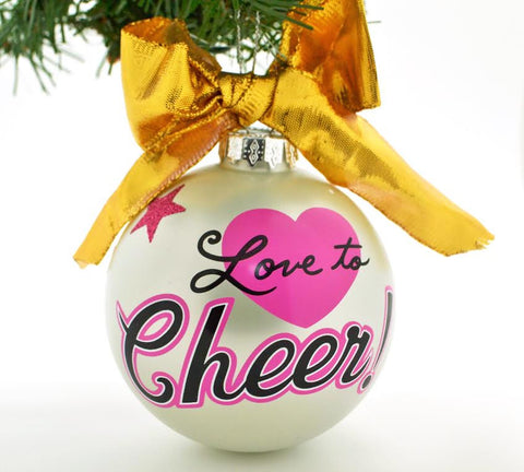 VINTAGE HANDPAINTED GLASS BALL CHRISTMAS ORNAMENT-CHEERLEADER LOVE TO CHEER