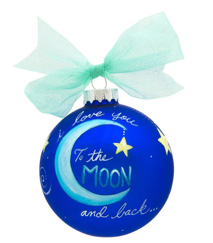 I LOVE YOU TO THE MOON & BACK VINTAGE HANDPAINTED GLASS BALL