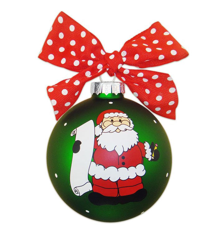 NAUGHTY OR NICE VINTAGE HANDPAINTED GLASS BALL