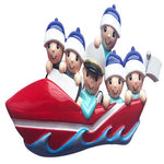 Personalized Christmas Ornament Boating Family of 6/Personalized Boating Christmas Ornament/Custom Xmas Ornament Boating Parents and 4 children/Personalized by Santa
