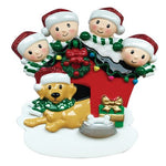 Personalized Christmas Ornament Family of 4 With Dog/Personalized Xmas Ornament Family of 4 with Dog/Holiday Family with Dog Ornament/Parents w/ 2 kids Ornament/Personalized By Santa