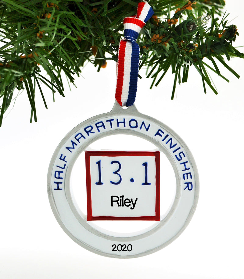 Personalized Christmas Ornament Runner Half Marathon Finisher 13.1 / Personalized by Santa/Running Ornament/Marathon Ornament