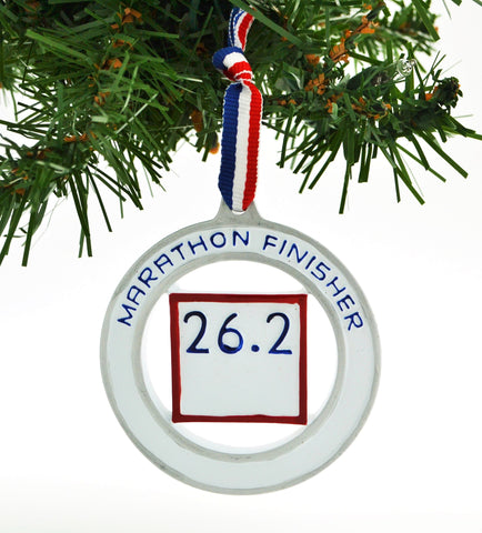 PERSONALIZED CHRISTMAS ORNAMENT SPORTS-RUNNER FULL MARATHON FINISHER 26.2
