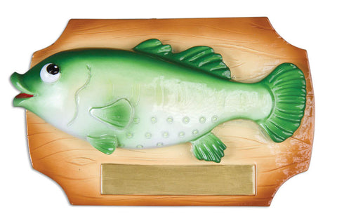 PERSONALIZED CHRISTMAS ORNAMENT HOBBIES/ACTIVITIES-FISH BASS ON PLAQUE