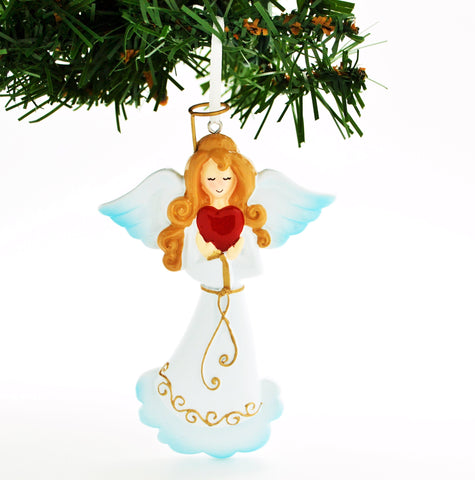 PERSONALIZED CHRISTMAS ORNAMENT-ELEGANT ANGEL WITH RED HEART