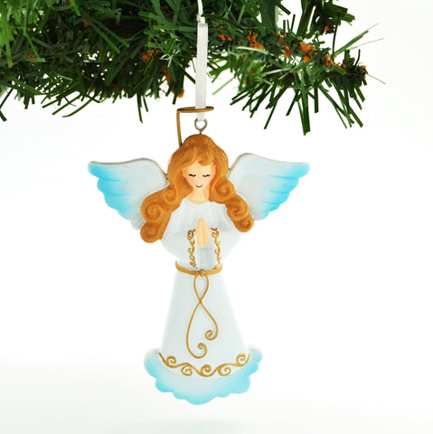 PERSONALIZED CHRISTMAS ORNAMENT-ELEGANT ANGEL WITH PRAYER HANDS