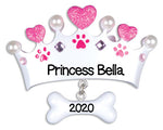 Personalized Christmas Ornaments Pets - Princess Dog Bone/Personalized by Santa/Dog Bone Ornament/Dog Bone Christmas Ornament