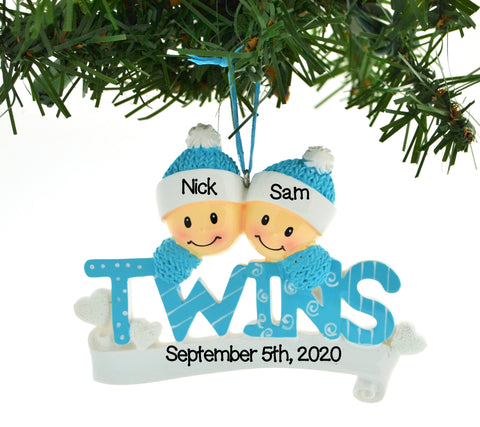 PERSONALIZED CHRISTMAS ORNAMENT FAMILY-TWINS BLUE TWO BOYS BROTHERS