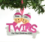 Personalized Christmas Ornament Twins Pink Two Girls Sisters/Personalized by Santa/Twin Christmas Ornament/Twin Girl Christmas Ornament
