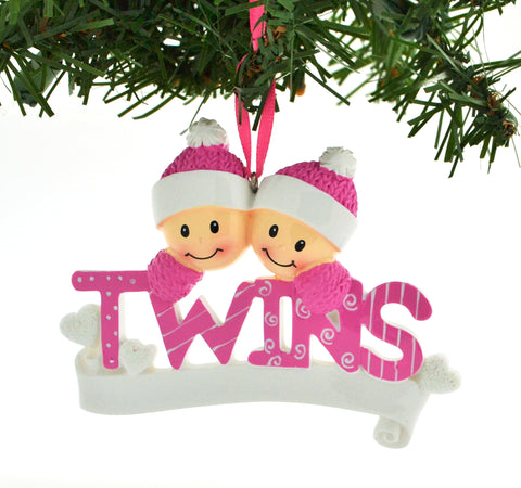 PERSONALIZED CHRISTMAS ORNAMENT FAMILY-TWINS PINK TWO GIRLS SISTERS