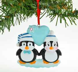 PENGUIN BLUE COUPLE W/HEART SNOWFLAKE