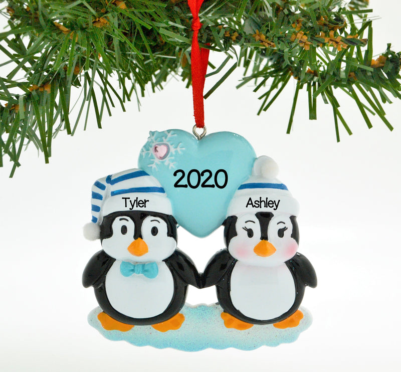 Personalized Christmas Ornament Penguin Blue Couple with Heart Snowflake/Personalized by Santa/Personalized Couple Christmas Ornament/Couple Christmas Ornament