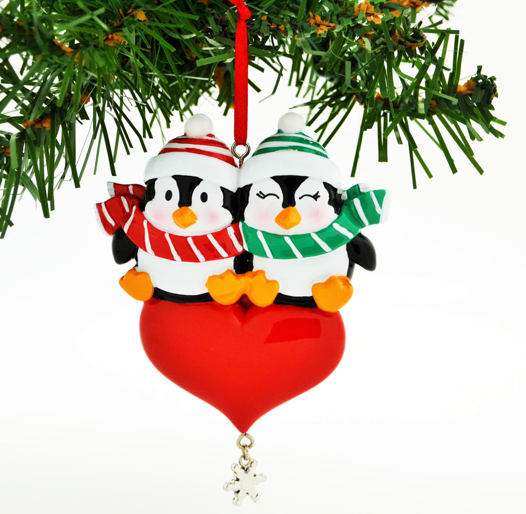 PENGUIN RED COUPLE W/HEART SNOWFLAKE DANGLE