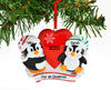 Grantwood Technology Personalized Christmas Ornament Penguin RED Couple with Heart Snowflake/Personalized by Santa/Personalized Couple Ornament/Couple Christmas Ornament/Couples Christmas Ornament
