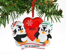 PENGUIN RED COUPLE W/HEART SNOWFLAKE