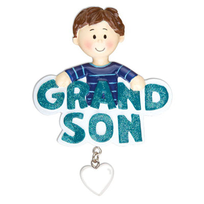 Personalized Christmas Ornaments Family General-Grandson W/Dangling Heart/Personalized by Santa/Grandson Ornament
