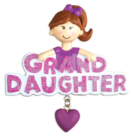PERSONALIZED CHRISTMAS ORNAMENT FAMILY-GRANDDAUGHTER W/DANGLING HEART