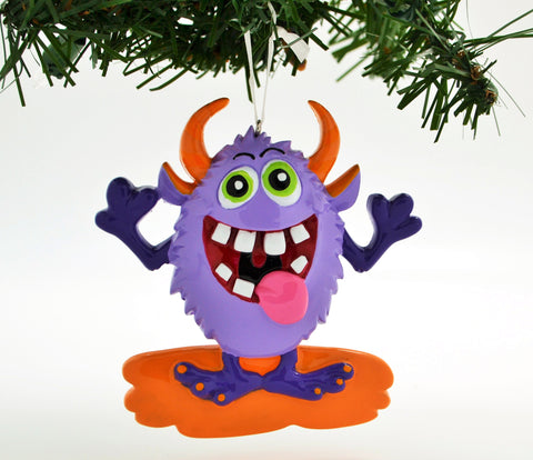 PERSONALIZED CHRISTMAS ORNAMENT-ADORABLE PURPLE MONSTER