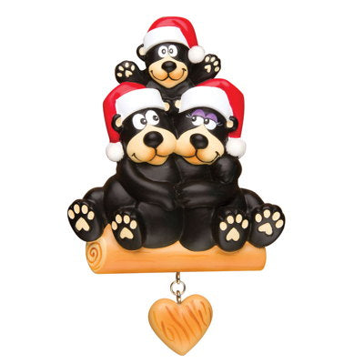 PERSONALIZED CHRISTMAS ORNAMENTS FAMILY-BLACK BEAR FAMILY OF 3 / PERSONALIZED BY SANTA / PERSONALIZED FAMILY CHRISTMAS ORNAMENT/FAMILY CHRISTMAS ORNAMENT 3 / FAMILY OF 3 CHRISTMAS ORNAMENT