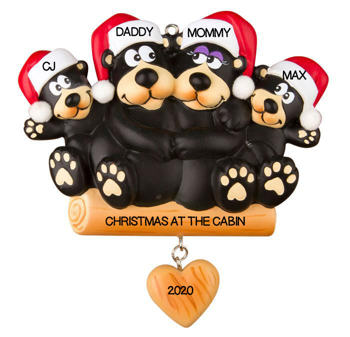 PERSONALIZED CHRISTMAS ORNAMENTS FAMILY-BLACK BEAR FAMILY OF 4 / PERSONALIZED BY SANTA / BEAR ORNAMENT / BEAR FAMILY ORNAMENTS, BEAR CHRISTMAS ORNAMENT