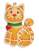 Personalized Christmas Ornaments Pets-Gingerbread CAT, CAT Christmas Ornaments, Love My CAT Ornament, Personalized CAT Ornament, Personalized by Santa/Grantwood Technology