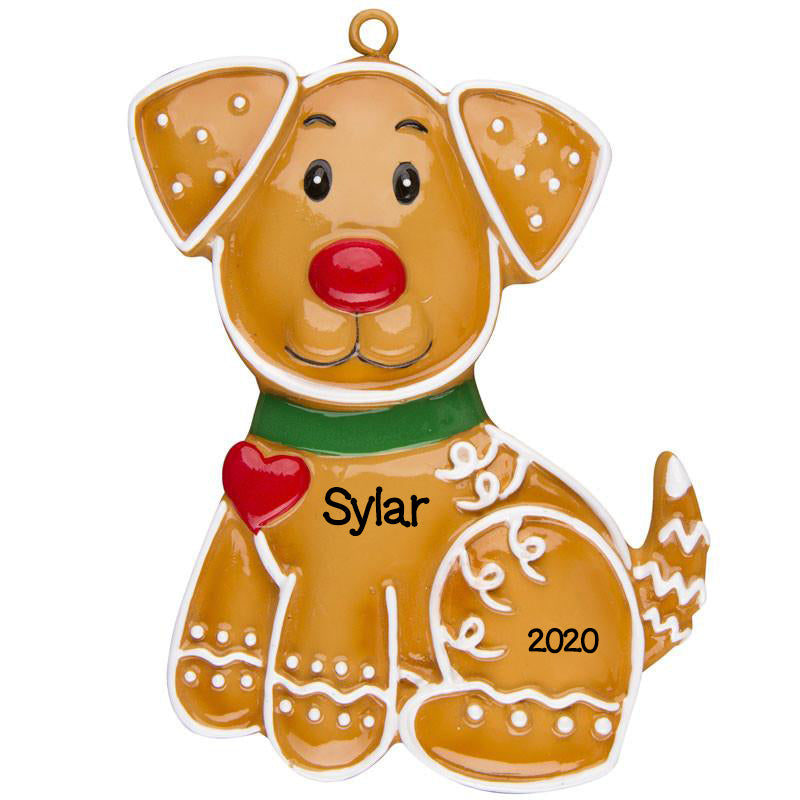 Personalized Christmas Ornaments Pets-Gingerbread Dog/Personalized by Santa/Dog Ornament/PET Ornament/Gingerbread Ornament