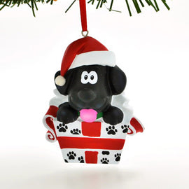 BLACK PUPPY DOG IN GIFT BOX