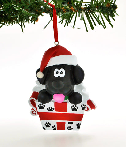 PERSONALIZED CHRISTMAS ORNAMENT PETS-CUTE BLACK PUPPY DOG IN GIFT BOX