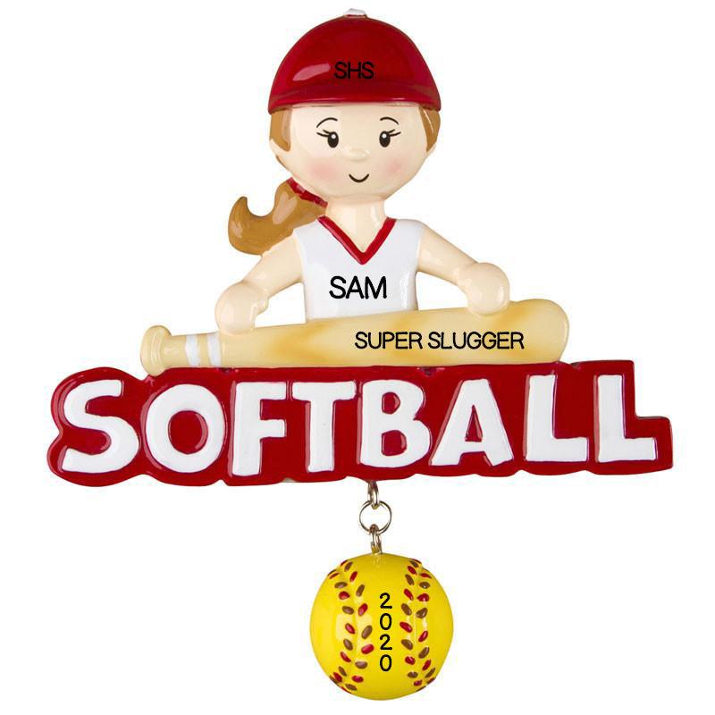 Personalized Christmas Ornaments Sports-Softball-Girl/Personalized by Santa/Personalized Softball Christmas Ornament/Christmas Ornament Softball
