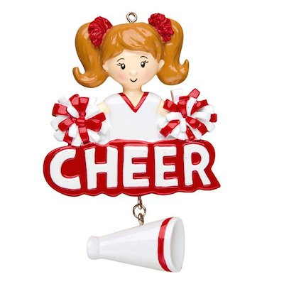 Personalized Christmas Ornaments Sports-Cheerleader/Personalized Cheerleader Ornament/RED Cheerleader Christmas Ornament/Personalized Cheerleader Ornament/Personalized by Santa