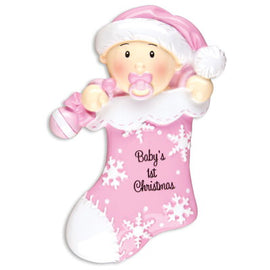 BABY'S FIRST-BABY FIRST STOCKING-PINK