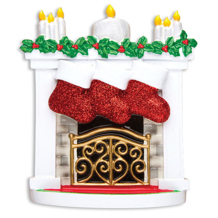 MANTLE WITH STOCKING FAMILY OF 3