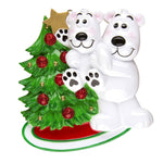 POLAR BEAR W/CHILD DECORATING TREE