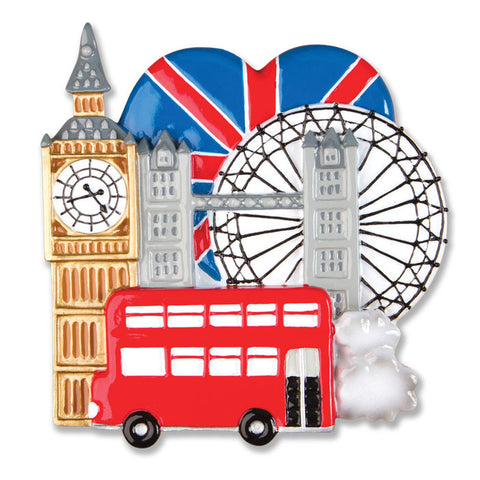 PERSONALIZED CHRISTMAS ORNAMENT TRAVEL-LONDON ENGLAND