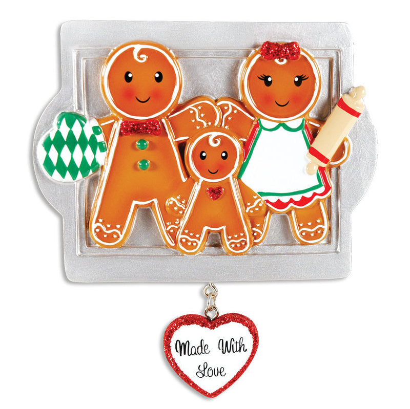 PERSONALIZED CHRISTMAS ORNAMENTS FAMILY SERIES- MADE W/LOVE FAMILY OF 3 / PERSONALIZED BY SANTA / FAMILY ORNAMENT / GINGERBREAD ORNAMENT