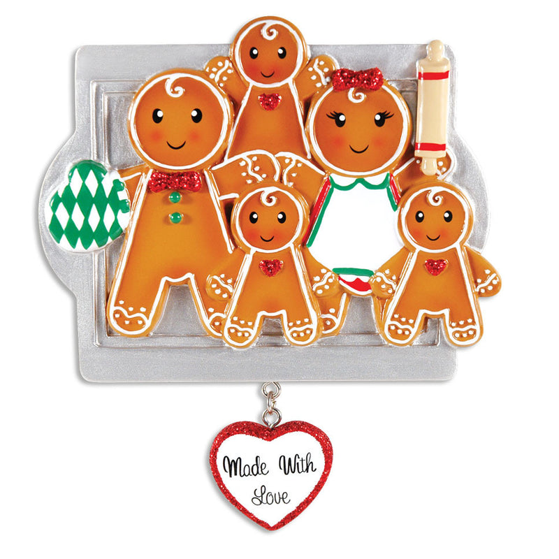 Personalized Christmas Ornaments Family Series- Made W/Love Family of 5 / Personalized by Santa/Family Ornament/Gingerbread Ornament