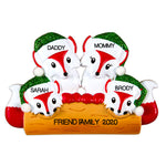 Grantwood Technology Personalized Christmas Ornaments Family Series- Fox Family of 4 / Personalized by Santa / 4 Family Christmas Ornament/Family Christmas Ornaments/Family Christmas Ornament 4