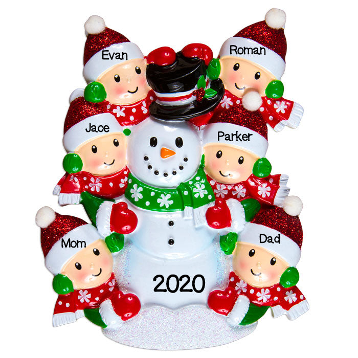 PERSONALIZED CHRISTMAS ORNAMENTS FAMILY SERIES-FAMILY BUILDING SNOWMAN OF 6 / PERSONALIZED BY SANTA / FAMILY ORNAMENTS / SNOWMAN ORNAMENT