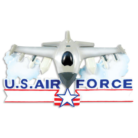 PERSONALIZED CHRISTMAS ORNAMENT ARMED FORCES-AIR FORCE FIGHTER JET