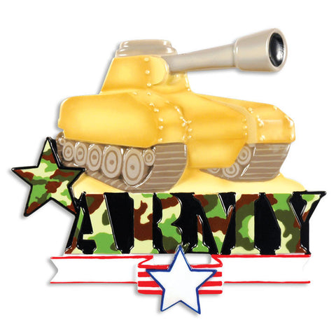 PERSONALIZED CHRISTMAS ORNAMENT ARMED FORCES-ARMY TANK