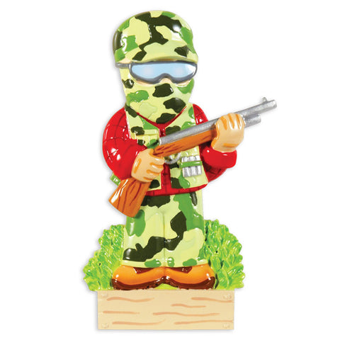 PERSONALIZED CHRISTMAS ORNAMENT HOBBIES/ACTIVITES-CAMO HUNTER