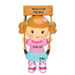 Personalized Christmas Ornaments Child- Girl ON Swing/Personalized by Santa/Swing Ornament